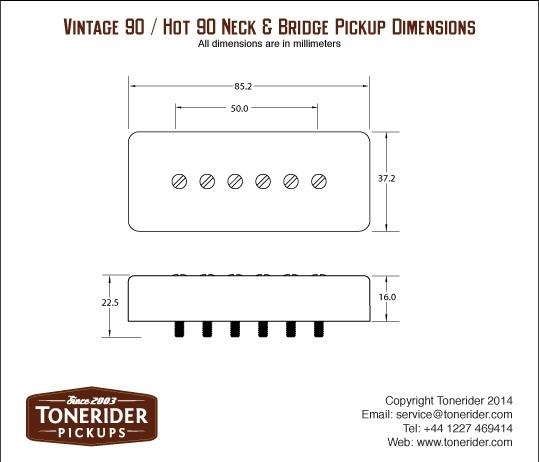 Tonerider  U0026 39 Hot 90 U0026 39  Neck P90 - Black - P-90
